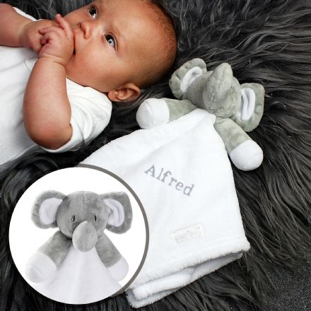 Plush Grey Elephant and White Comforter for Baby (Personalise me)